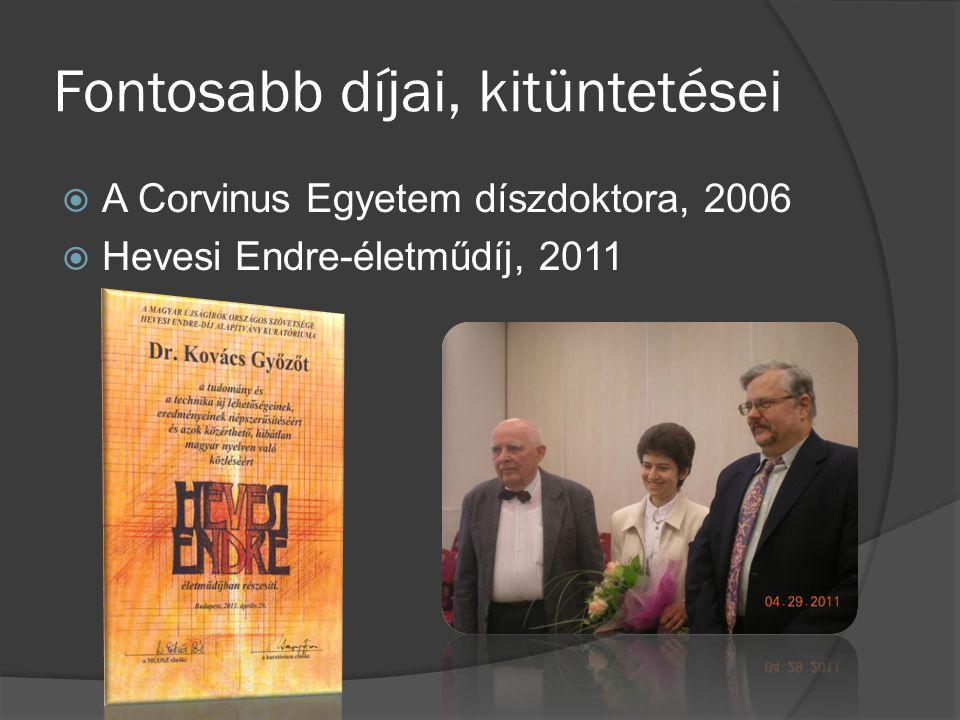 Fontosabb díjai, kitüntetései  A Corvinus Egyetem díszdoktora, 2006  Hevesi Endre-életműdíj, 2011