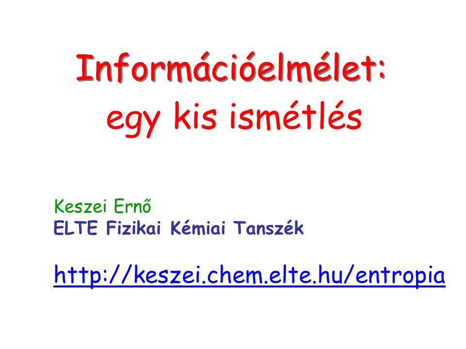 Címlap Információelmélet: egy kis ismétlés Keszei Ernő ELTE Fizikai Kémiai Tanszék http://keszei.chem.elte.hu/entropia