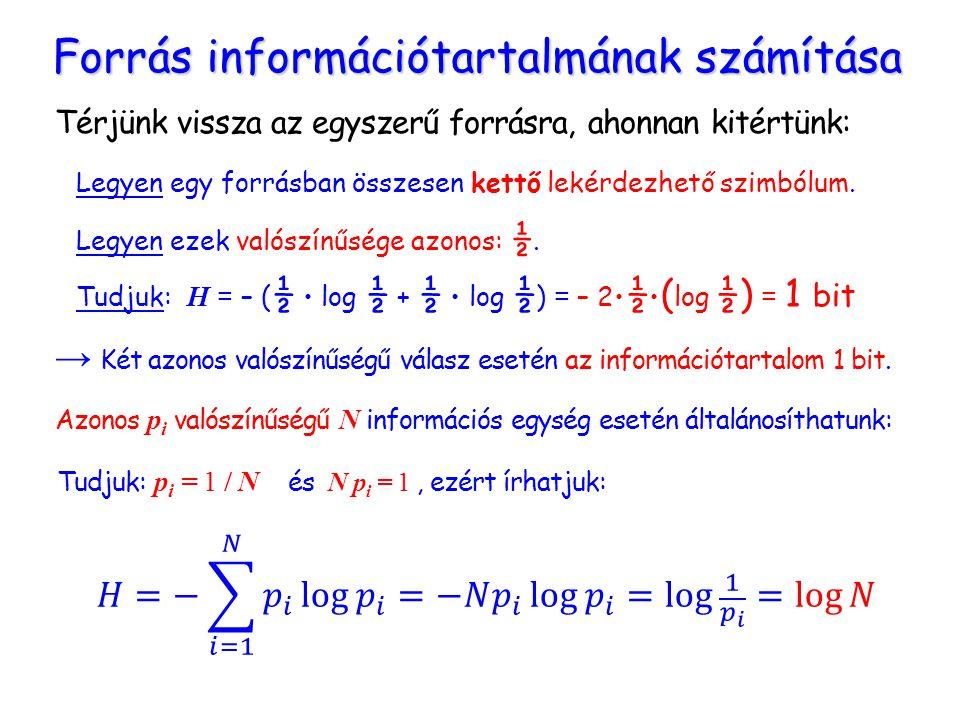 Térjünk vissza az egyszerű forrásra, ahonnan kitértünk: Forrás információtartalmának számítása Legyen egy forrásban összesen kettő lekérdezhető szimbólum.