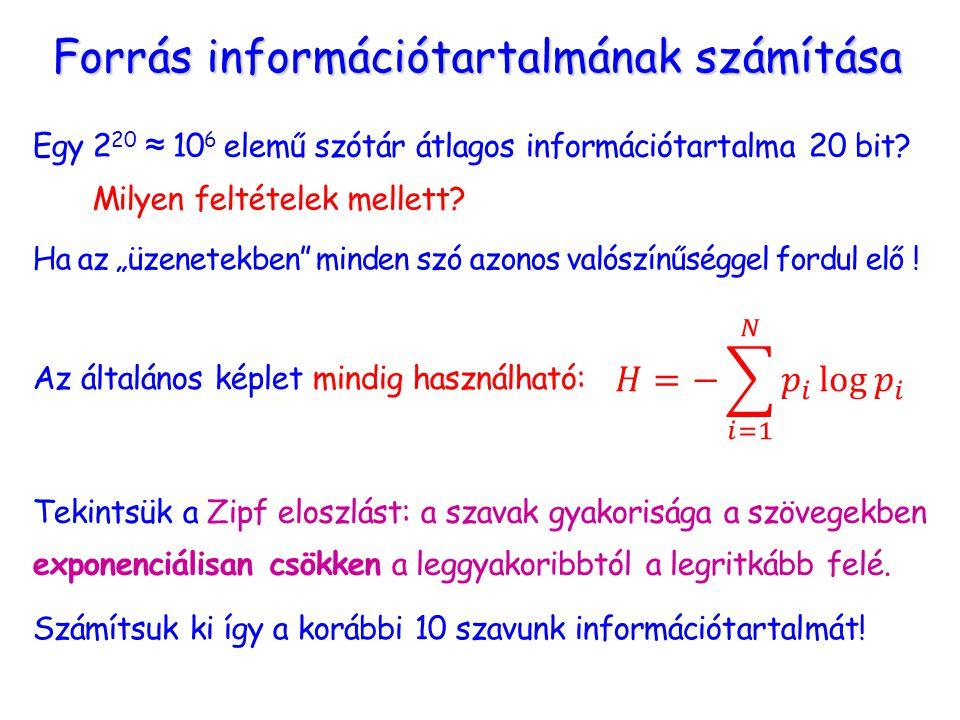 Forrás információtartalmának számítása Egy 2 20 ≈ 10 6 elemű szótár átlagos információtartalma 20 bit.
