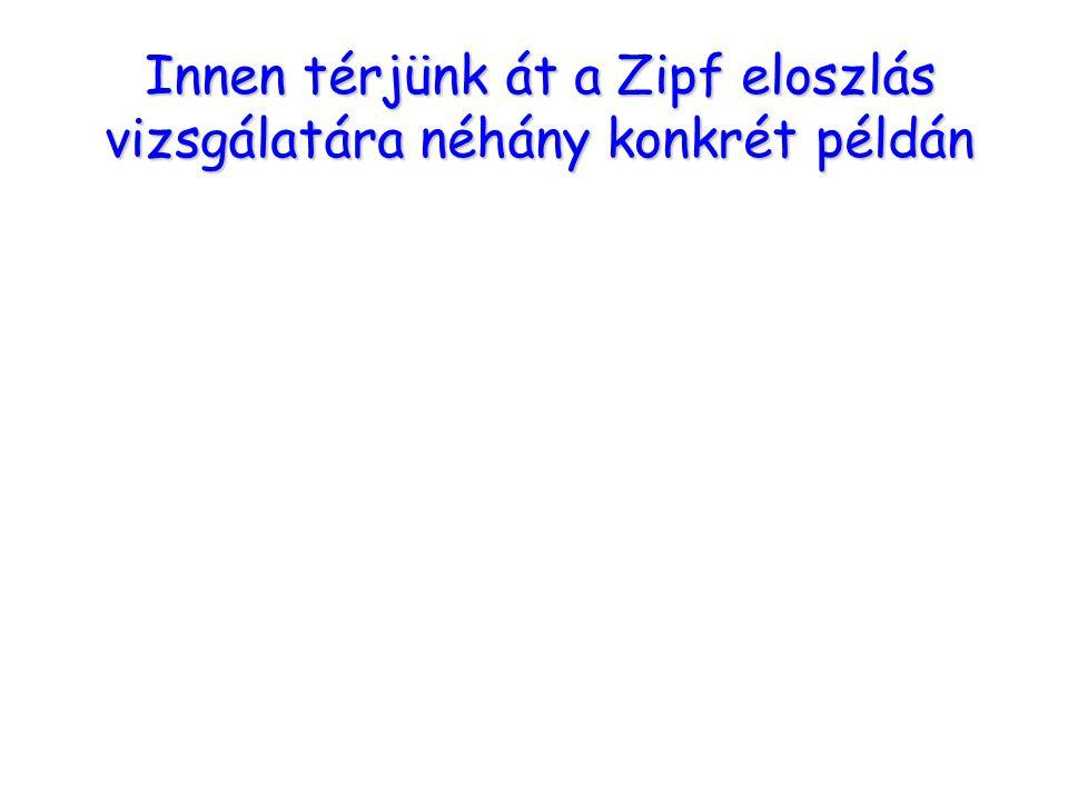 Összefoglalás Innen térjünk át a Zipf eloszlás vizsgálatára néhány konkrét példán