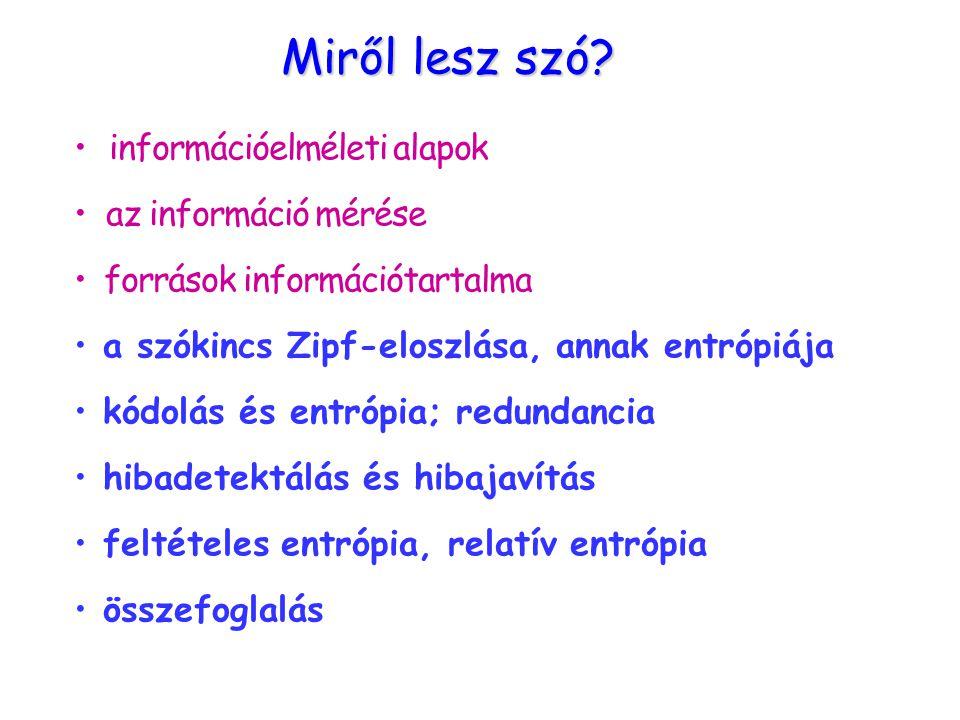információelméleti alapok az információ mérése források információtartalma a szókincs Zipf-eloszlása, annak entrópiája kódolás és entrópia; redundancia hibadetektálás és hibajavítás feltételes entrópia, relatív entrópia összefoglalás Miről lesz szó