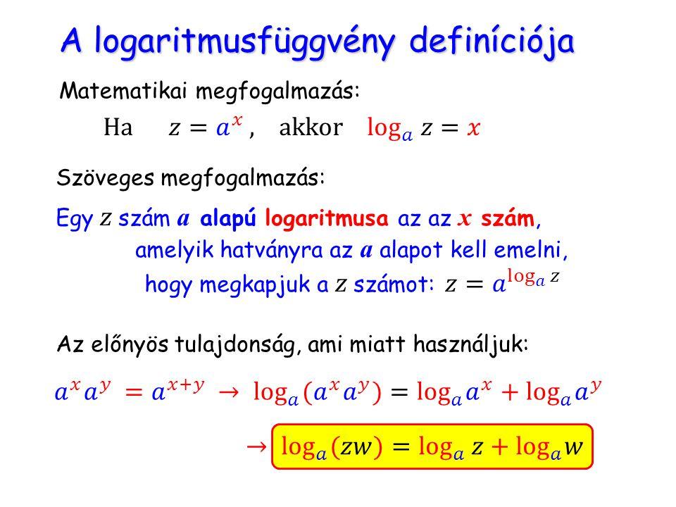A logaritmusfüggvény definíciója A logaritmusfüggvény definíciója Matematikai megfogalmazás: Szöveges megfogalmazás: Egy z szám a alapú logaritmusa az az x szám, amelyik hatványra az a alapot kell emelni, hogy megkapjuk a z számot: Az előnyös tulajdonság, ami miatt használjuk: