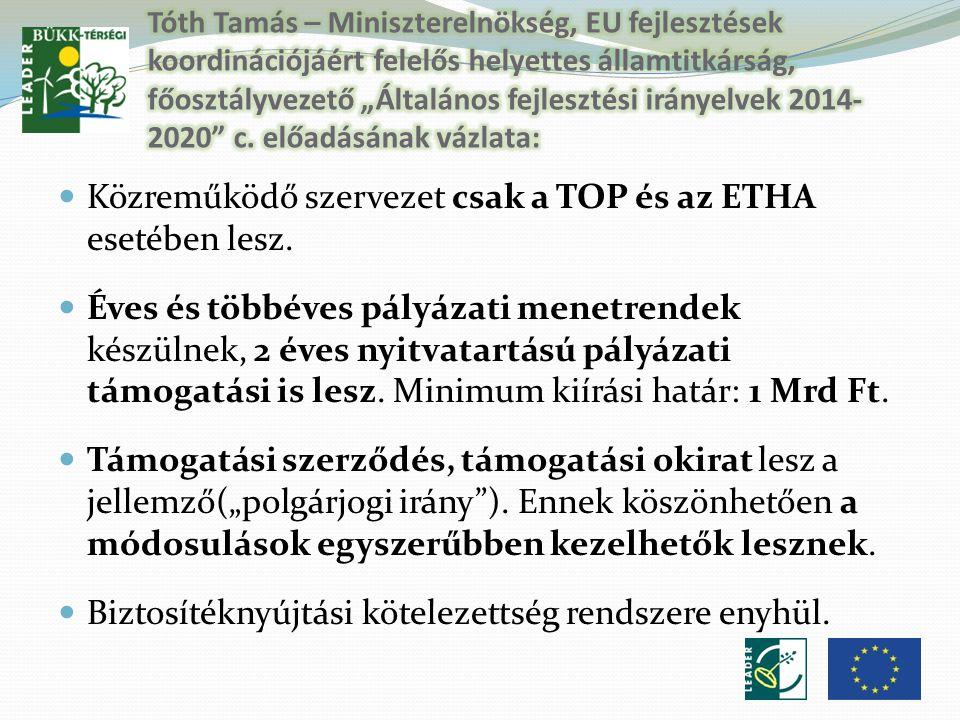Közreműködő szervezet csak a TOP és az ETHA esetében lesz.