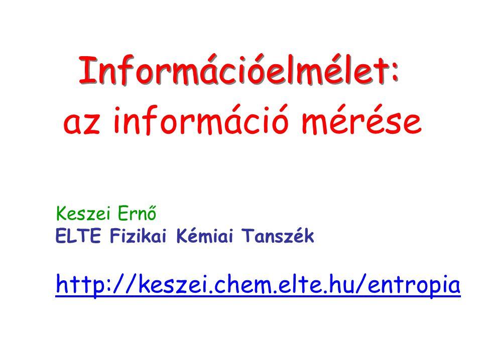 Címlap Információelmélet: az információ mérése Keszei Ernő ELTE Fizikai Kémiai Tanszék http://keszei.chem.elte.hu/entropia