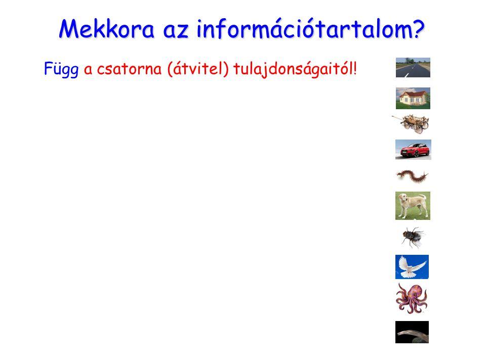 Mekkora az információtartalom? Függ a csatorna (átvitel) tulajdonságaitól!