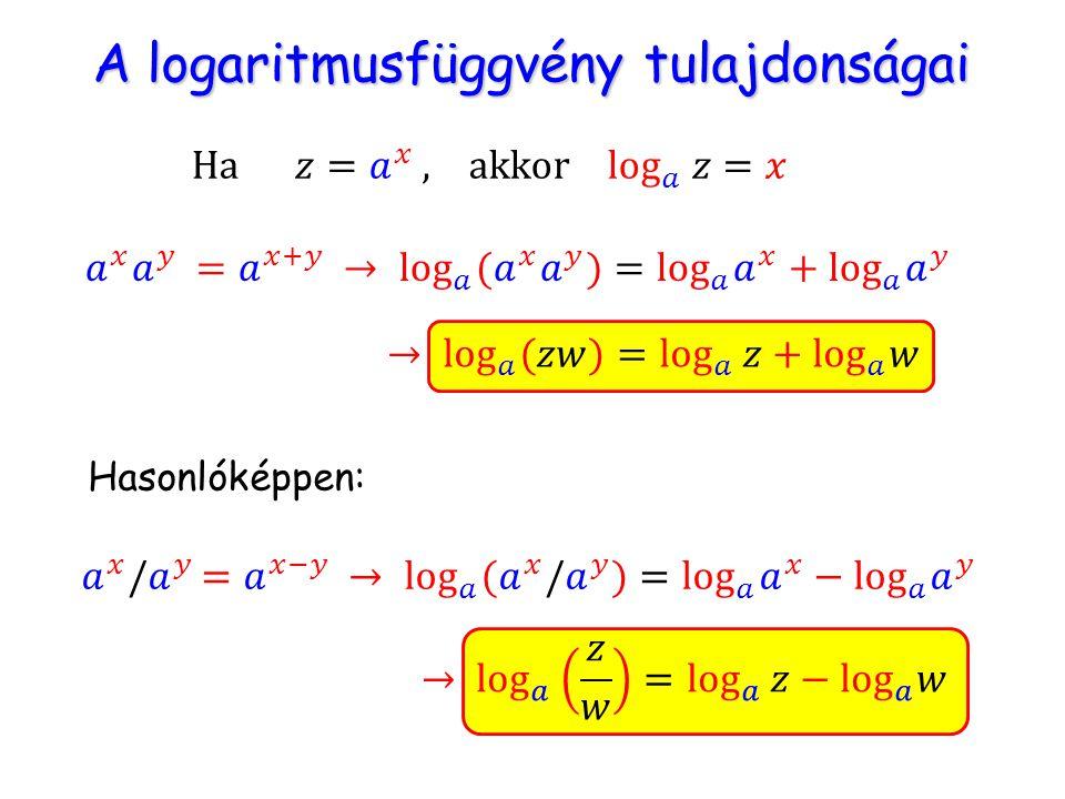 A logaritmusfüggvény tulajdonságai A logaritmusfüggvény tulajdonságai Hasonlóképpen: