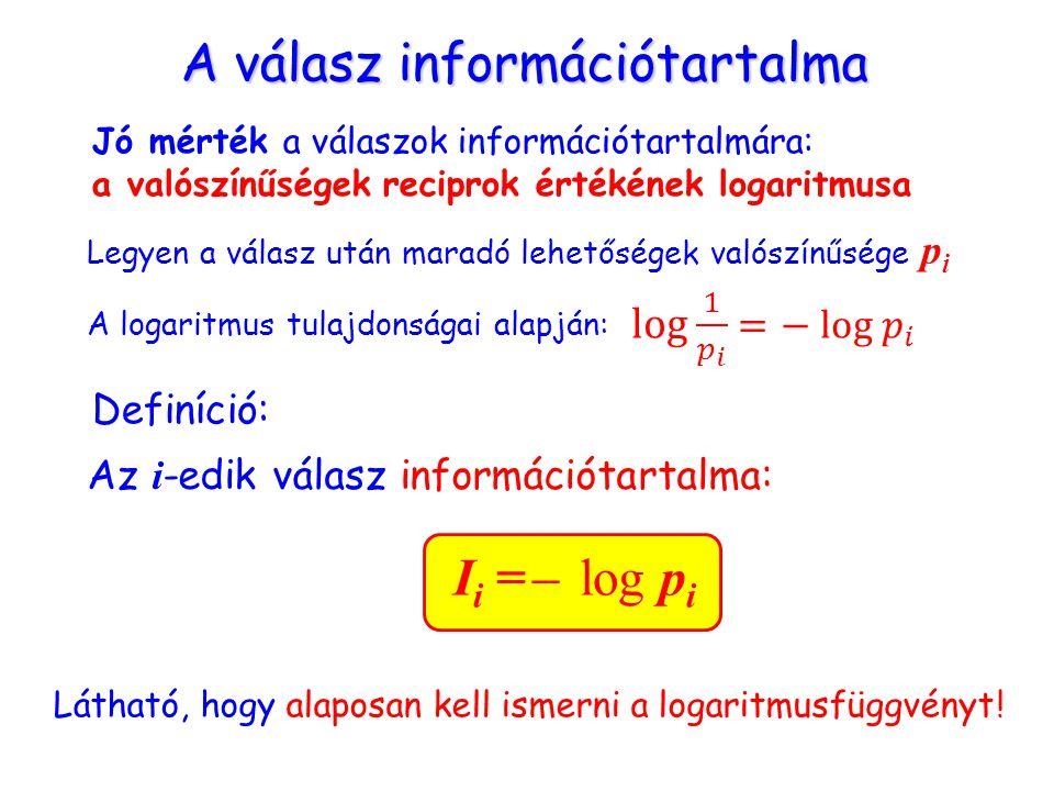 A válasz információtartalma Jó mérték a válaszok információtartalmára: a valószínűségek reciprok értékének logaritmusa Legyen a válasz után maradó lehetőségek valószínűsége p i A logaritmus tulajdonságai alapján: Az i -edik válasz információtartalma: Definíció: Látható, hogy alaposan kell ismerni a logaritmusfüggvényt .