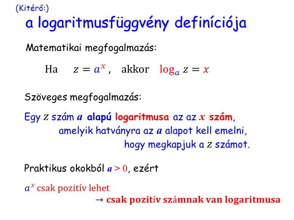a logaritmusfüggvény definíciója (Kitérő:) a logaritmusfüggvény definíciója Matematikai megfogalmazás: Szöveges megfogalmazás: Egy z szám a alapú logaritmusa az az x szám, amelyik hatványra az a alapot kell emelni, hogy megkapjuk a z számot.
