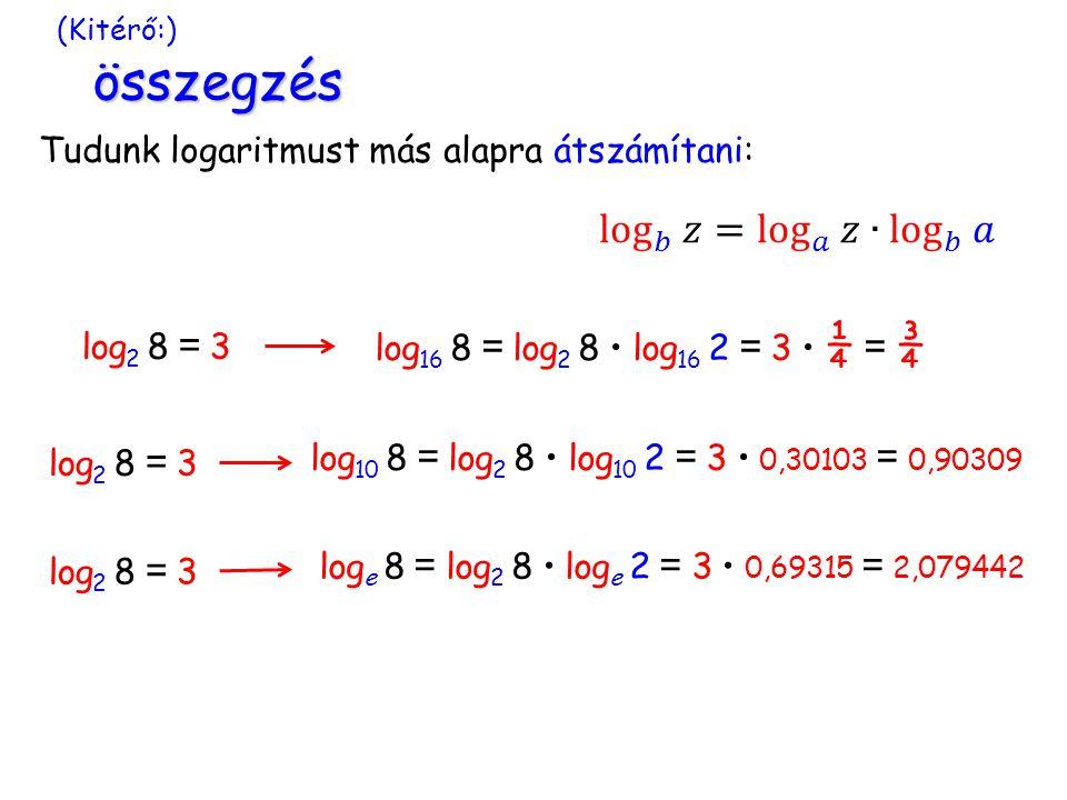összegzés (Kitérő:) összegzés Tudunk logaritmust más alapra átszámítani: log 2 8 = 3 log 16 8 = log 2 8 log 16 2 = 3 ¼ = ¾ log 2 8 = 3 log 10 8 = log 2 8 log 10 2 = 3 0,30103 = 0,90309 log 2 8 = 3 log e 8 = log 2 8 log e 2 = 3 0,69315 = 2,079442