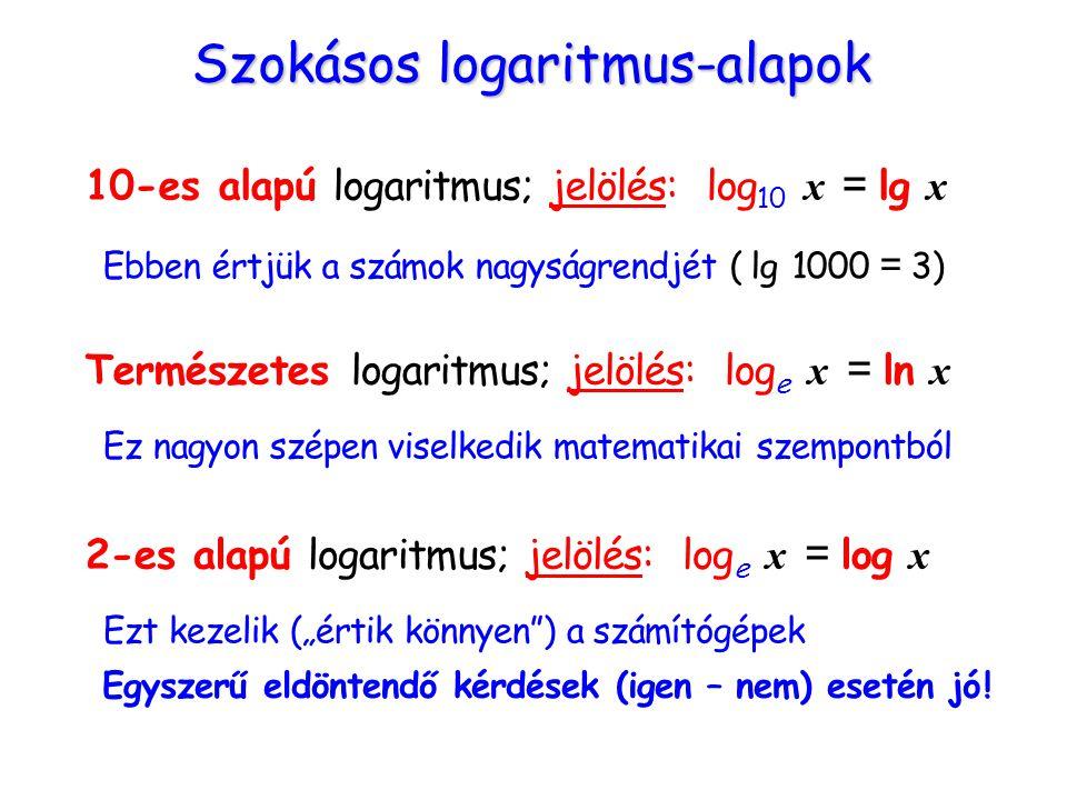 """Szokásos logaritmus-alapok 10-es alapú logaritmus; jelölés: log 10 x = lg x Ebben értjük a számok nagyságrendjét ( lg 1000 = 3) Természetes logaritmus; jelölés: log e x = ln x Ez nagyon szépen viselkedik matematikai szempontból 2-es alapú logaritmus; jelölés: log e x = log x Ezt kezelik (""""értik könnyen ) a számítógépek Egyszerű eldöntendő kérdések (igen – nem) esetén jó !"""