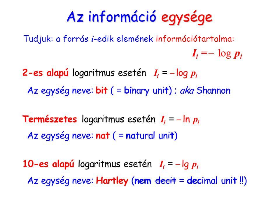 Az információ egysége Tudjuk: a forrás i -edik elemének információtartalma: I i = ̶ log p i 2-es alapú logaritmus esetén I i = ̶ log p i Az egység neve: bit ( = binary unit) ; aka Shannon Természetes logaritmus esetén I i = ̶ ln p i Az egység neve: nat ( = natural unit) 10-es alapú logaritmus esetén I i = ̶ lg p i Az egység neve: Hartley (nem decit = decimal unit !!)