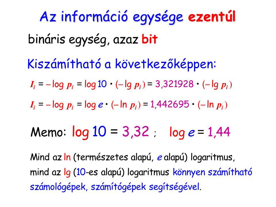 bináris egység, azaz bit Az információ egysége ezentúl Kiszámítható a következőképpen: I i = ̶ log p i = log 10 ( ̶ lg p i ) = 3,321928 ( ̶ lg p i ) I i = ̶ log p i = log e ( ̶ ln p i ) = 1,442695 ( ̶ ln p i ) Memo: log 10 = 3,32 ; log e = 1,44 Mind az ln (természetes alapú, e alapú) logaritmus, mind az lg (10-es alapú) logaritmus könnyen számítható számológépek, számítógépek segítségével.