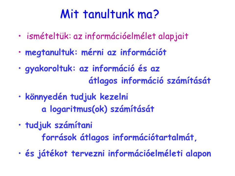 Összefoglalás Mit tanultunk ma ? ismételtük: az információelmélet alapjait megtanultuk: mérni az információt gyakoroltuk: az információ és az átlagos