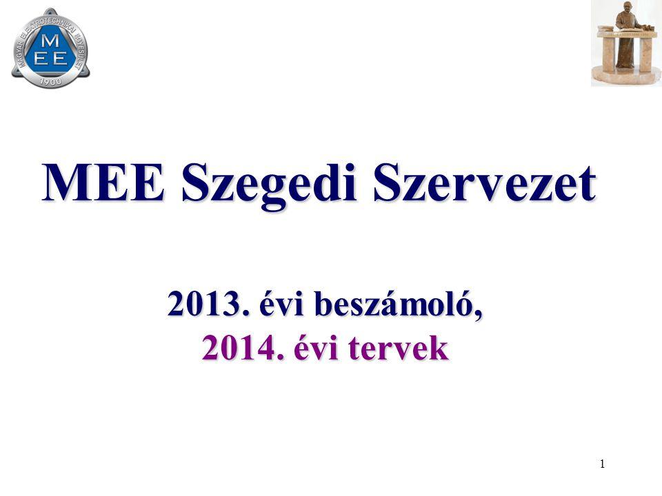 1 MEE Szegedi Szervezet 2013. évi beszámoló, 2014. évi tervek