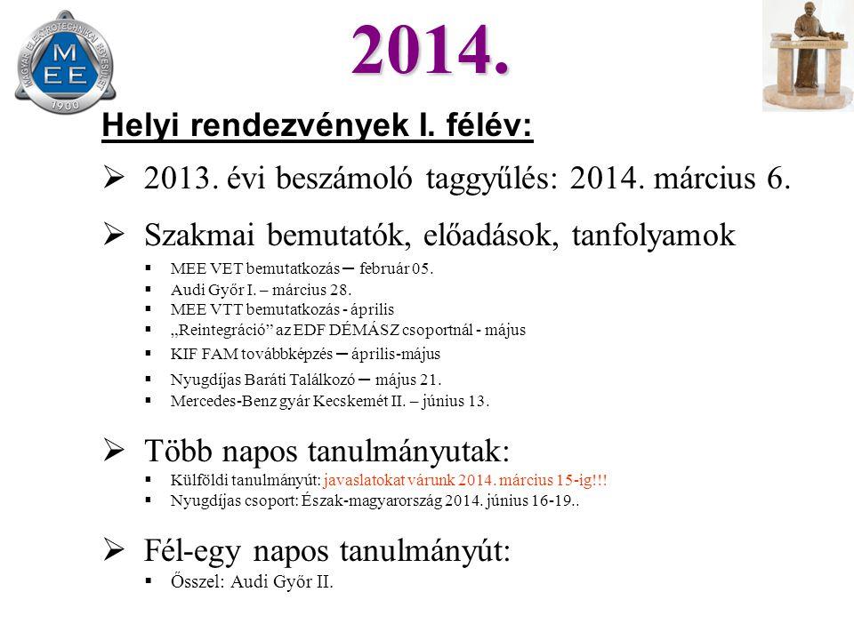 Helyi rendezvények I. félév:  2013. évi beszámoló taggyűlés: 2014.