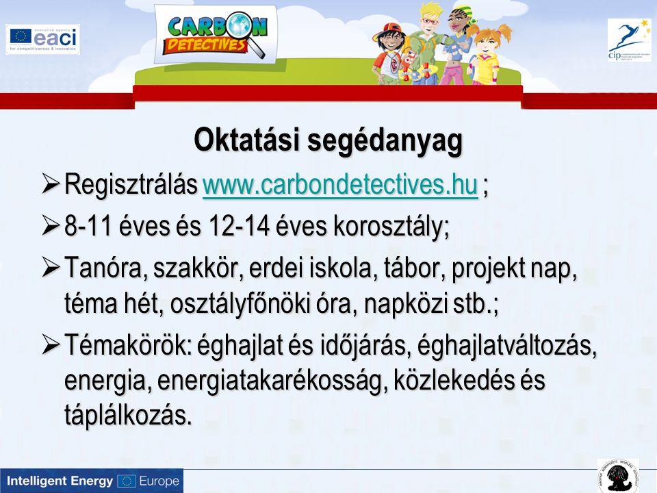 Oktatási segédanyag  Regisztrálás www.carbondetectives.hu ; www.carbondetectives.hu  8-11 éves és 12-14 éves korosztály;  Tanóra, szakkör, erdei is