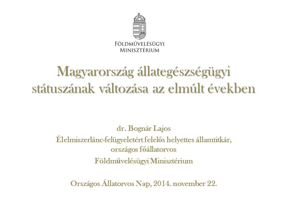 Magyarország állategészségügyi státuszának változása az elmúlt években dr. Bognár Lajos Élelmiszerlánc-felügyeletért felel ő s helyettes államtitkár,
