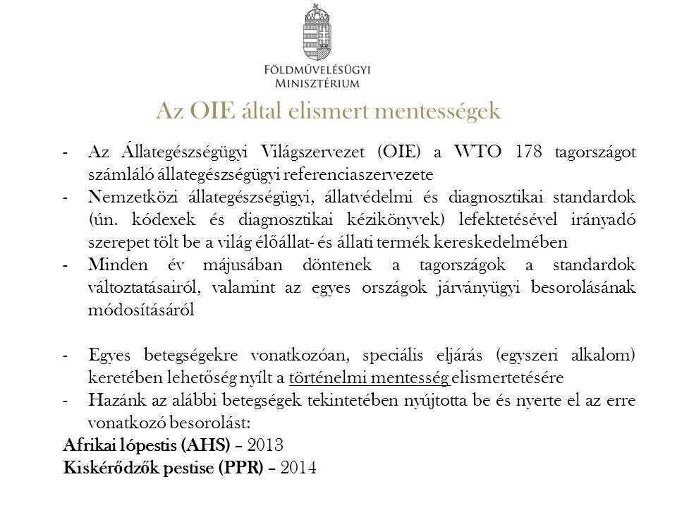 Az OIE által elismert mentességek -Az Állategészségügyi Világszervezet (OIE) a WTO 178 tagországot számláló állategészségügyi referenciaszervezete -Ne