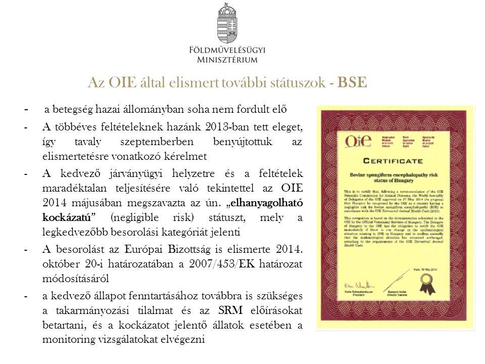 Az OIE által elismert további státuszok - BSE - a betegség hazai állományban soha nem fordult el ő -A többéves feltételeknek hazánk 2013-ban tett eleg