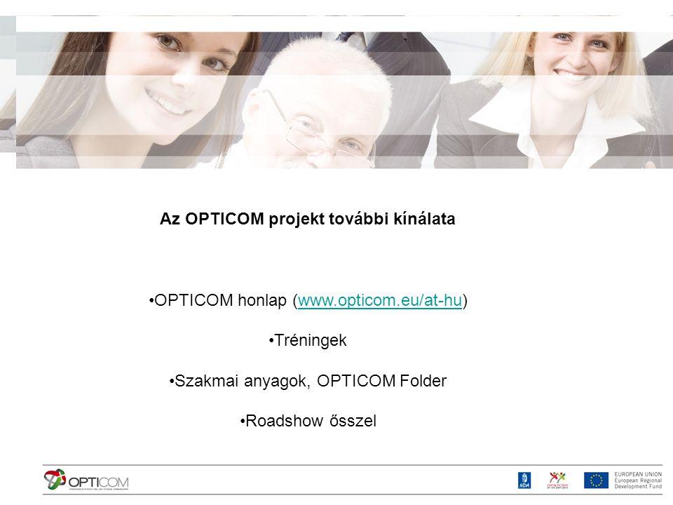 Az OPTICOM projekt további kínálata OPTICOM honlap (www.opticom.eu/at-hu)www.opticom.eu/at-hu Tréningek Szakmai anyagok, OPTICOM Folder Roadshow őssze