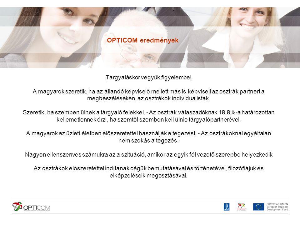 Problémás területek az osztrák-magyar üzleti kapcsolatokban A magyarok negatívumai Meg nem értés, saját módszerek erőltetése Konfliktuskezelés, problémamegoldás, elhallgatás Félreértések Munkamegosztás, szervezeten belüli kommunikáció Határidők Fizetés Személyes kapcsolat Bürokrácia OPTICOM eredmények