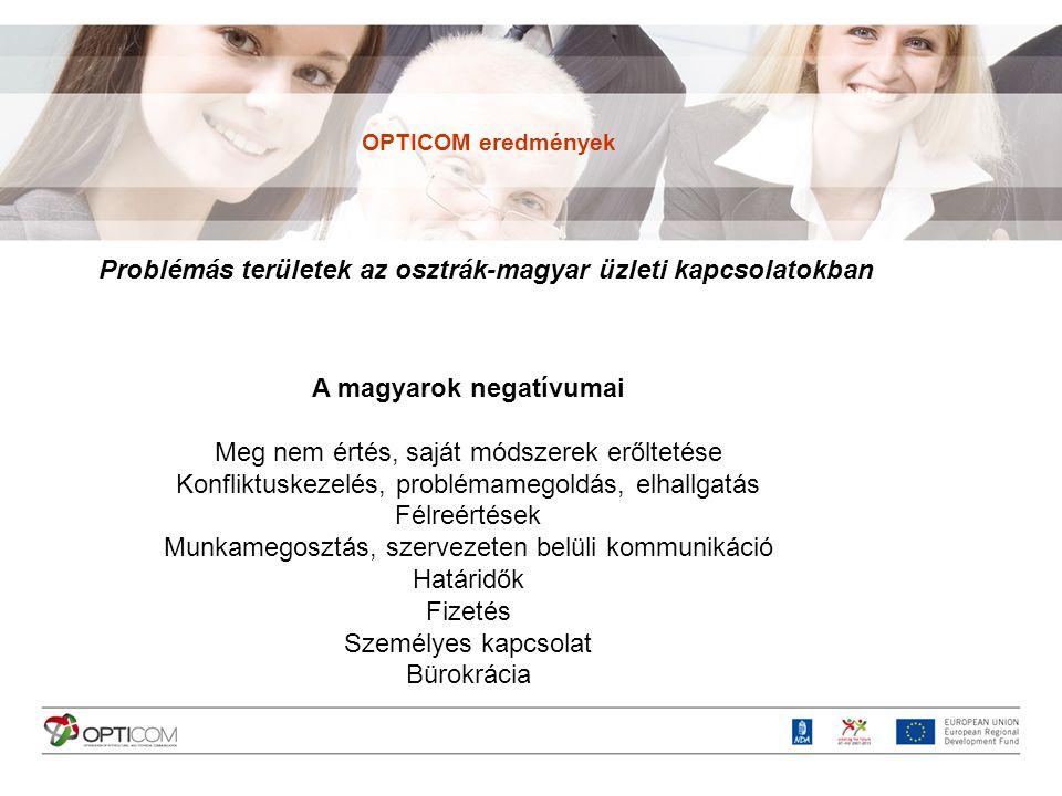 Problémás területek az osztrák-magyar üzleti kapcsolatokban A magyarok negatívumai Meg nem értés, saját módszerek erőltetése Konfliktuskezelés, problé
