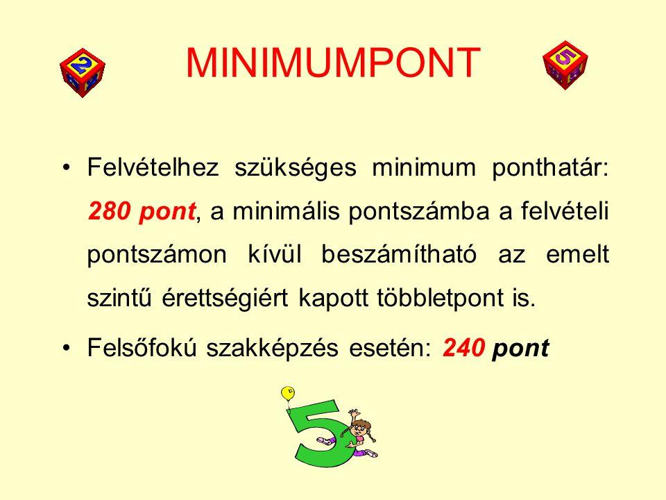 MINIMUMPONT Felvételhez szükséges minimum ponthatár: 280 pont, a minimális pontszámba a felvételi pontszámon kívül beszámítható az emelt szintű érettségiért kapott többletpont is.