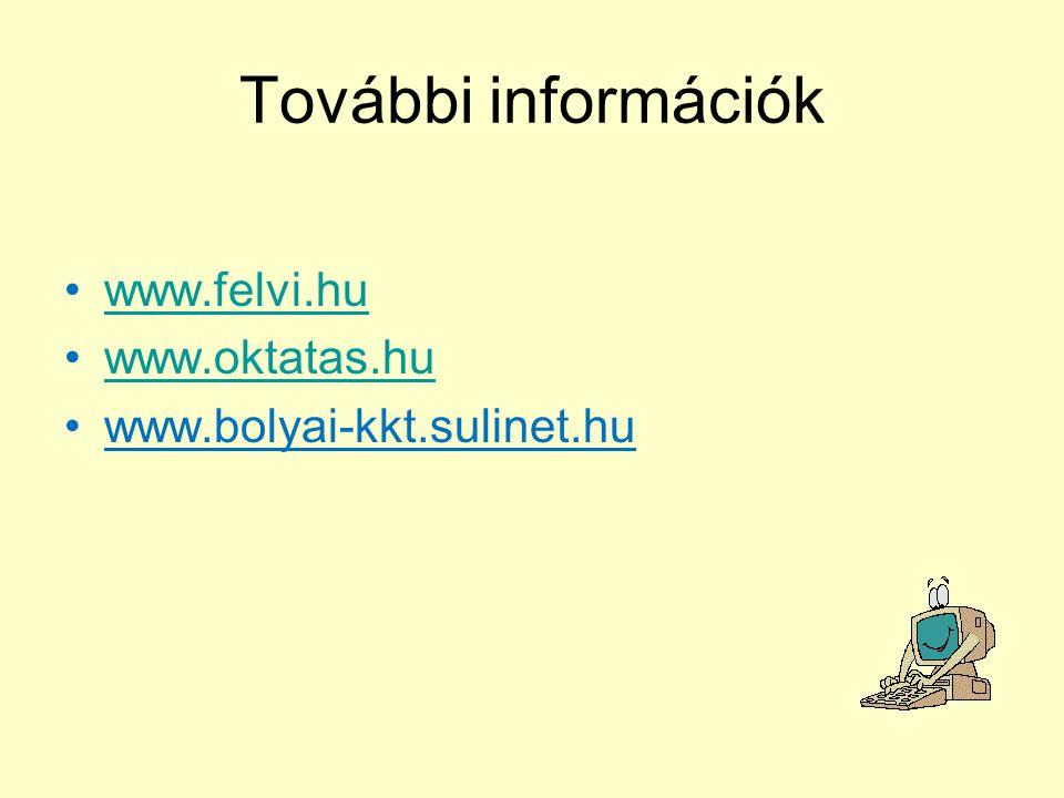 További információk www.felvi.hu www.oktatas.hu www.bolyai-kkt.sulinet.hu