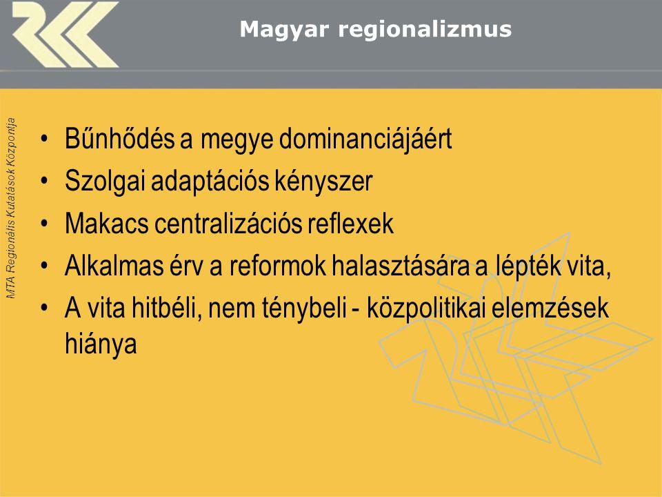 MTA Regionális Kutatások Központja Magyar regionalizmus Bűnhődés a megye dominanciájáért Szolgai adaptációs kényszer Makacs centralizációs reflexek Alkalmas érv a reformok halasztására a lépték vita, A vita hitbéli, nem ténybeli - közpolitikai elemzések hiánya