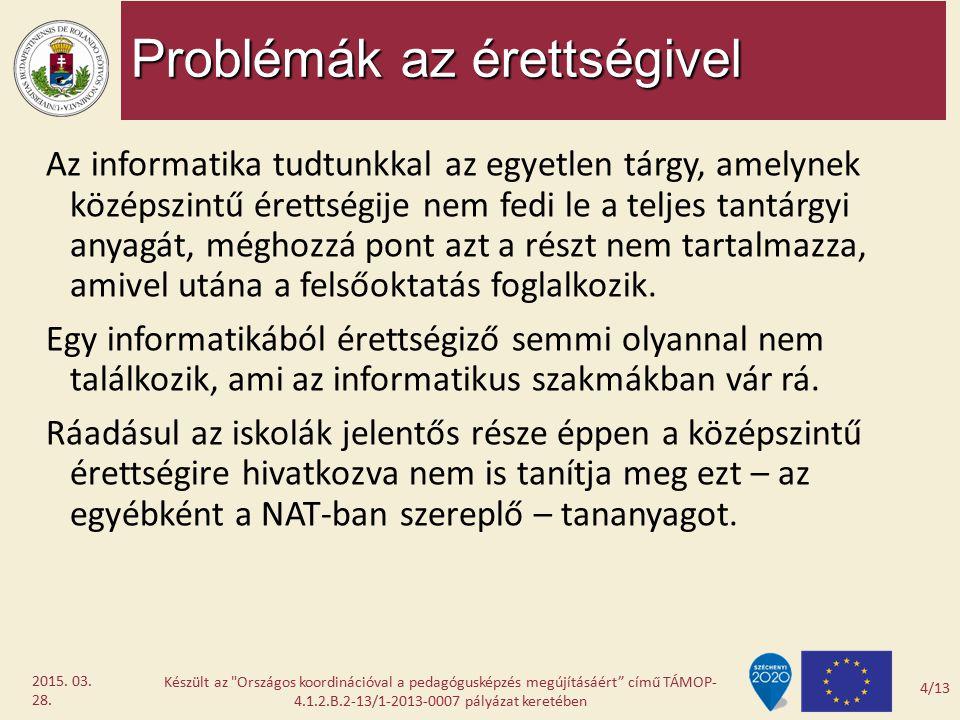 Problémák az érettségivel Az informatika tudtunkkal az egyetlen tárgy, amelynek középszintű érettségije nem fedi le a teljes tantárgyi anyagát, méghoz