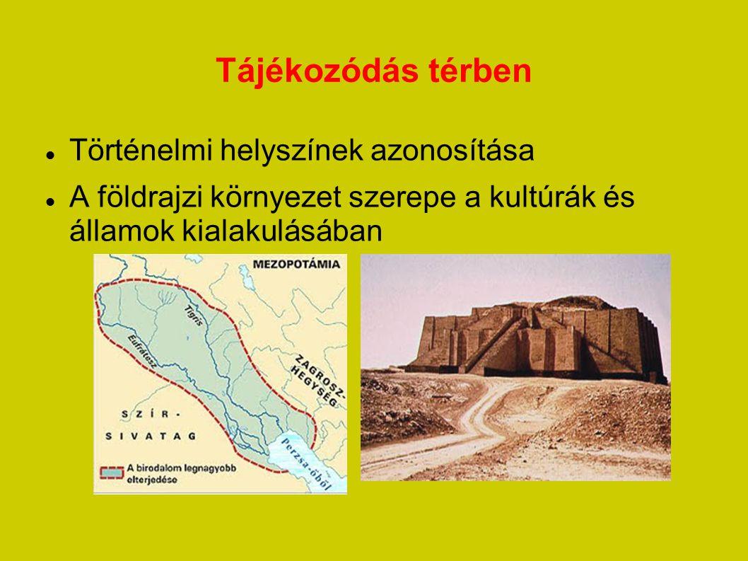 Tájékozódás térben Történelmi helyszínek azonosítása A földrajzi környezet szerepe a kultúrák és államok kialakulásában