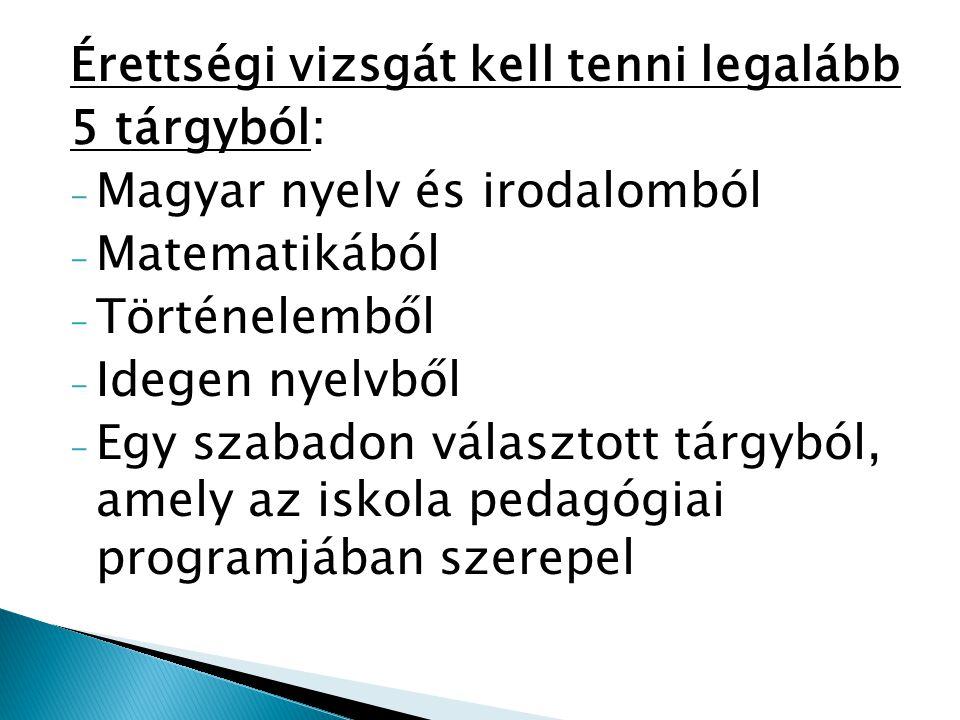 Érettségi vizsgát kell tenni legalább 5 tárgyból: - Magyar nyelv és irodalomból - Matematikából - Történelemből - Idegen nyelvből - Egy szabadon választott tárgyból, amely az iskola pedagógiai programjában szerepel