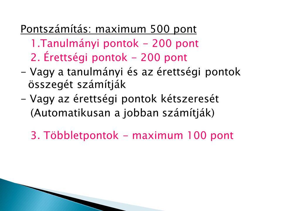 Pontszámítás: maximum 500 pont 1.Tanulmányi pontok - 200 pont 2.