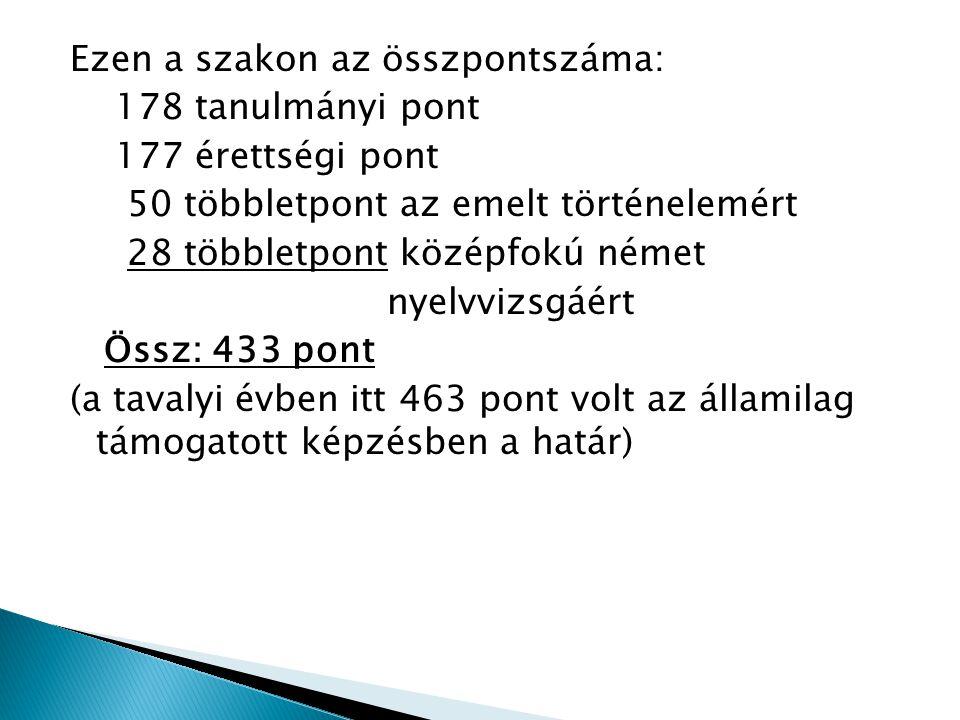 Ezen a szakon az összpontszáma: 178 tanulmányi pont 177 érettségi pont 50 többletpont az emelt történelemért 28 többletpont középfokú német nyelvvizsgáért Össz: 433 pont (a tavalyi évben itt 463 pont volt az államilag támogatott képzésben a határ)