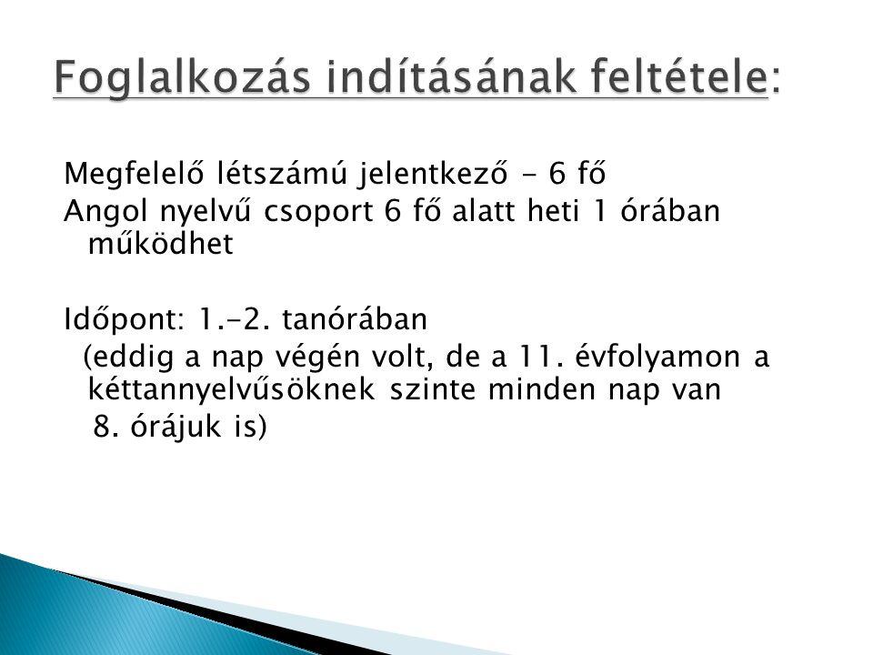 Megfelelő létszámú jelentkező - 6 fő Angol nyelvű csoport 6 fő alatt heti 1 órában működhet Időpont: 1.-2.