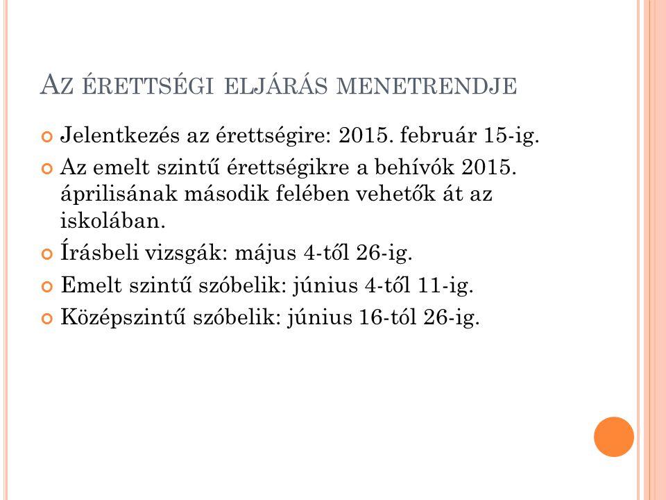 A Z ÉRETTSÉGI ELJÁRÁS MENETRENDJE Jelentkezés az érettségire: 2015. február 15-ig. Az emelt szintű érettségikre a behívók 2015. áprilisának második fe