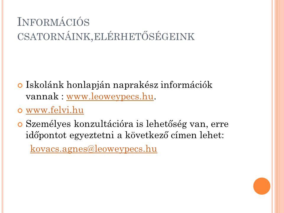 I NFORMÁCIÓS CSATORNÁINK, ELÉRHETŐSÉGEINK Iskolánk honlapján naprakész információk vannak : www.leoweypecs.hu.www.leoweypecs.hu www.felvi.hu Személyes konzultációra is lehetőség van, erre időpontot egyeztetni a következő címen lehet: kovacs.agnes@leoweypecs.hu
