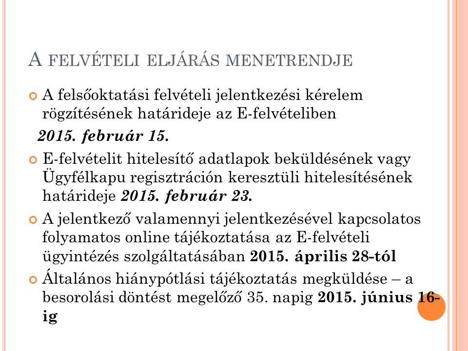 A FELVÉTELI ELJÁRÁS MENETRENDJE A felsőoktatási felvételi jelentkezési kérelem rögzítésének határideje az E-felvételiben 2015. február 15. E-felvételi