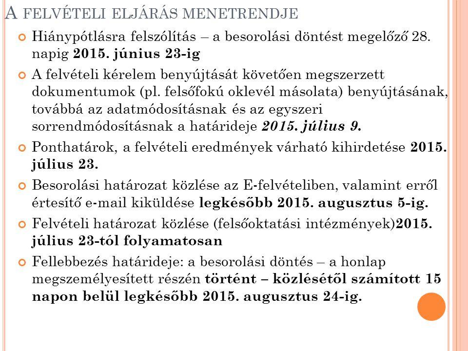 A FELVÉTELI ELJÁRÁS MENETRENDJE Hiánypótlásra felszólítás – a besorolási döntést megelőző 28. napig 2015. június 23-ig A felvételi kérelem benyújtását