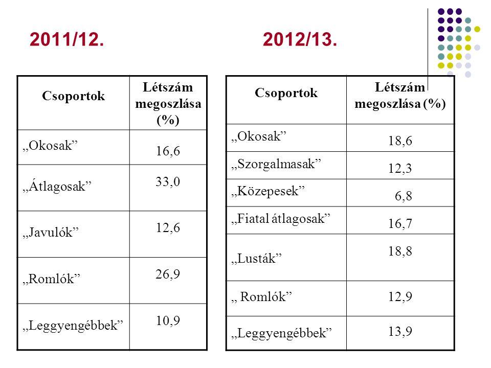 """2011/12. 2012/13. Csoportok Létszám megoszlása (%) """"Okosak"""" 16,6 """"Átlagosak"""" 33,0 """"Javulók"""" 12,6 """"Romlók"""" 26,9 """"Leggyengébbek"""" 10,9 Csoportok Létszám"""