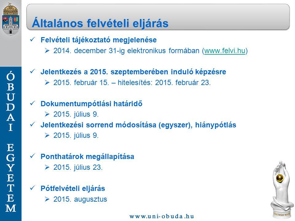 Felvételi tájékoztató megjelenése  2014. december 31-ig elektronikus formában (www.felvi.hu)www.felvi.hu Jelentkezés a 2015. szeptemberében induló ké