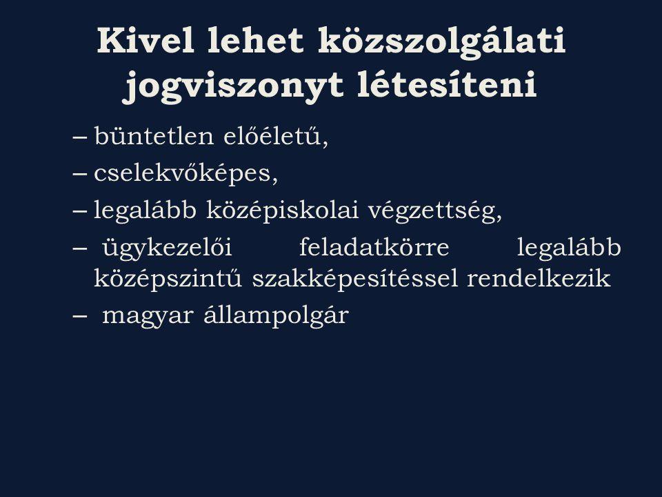 Kivel lehet közszolgálati jogviszonyt létesíteni – büntetlen előéletű, – cselekvőképes, – legalább középiskolai végzettség, – ügykezelői feladatkörre legalább középszintű szakképesítéssel rendelkezik – magyar állampolgár