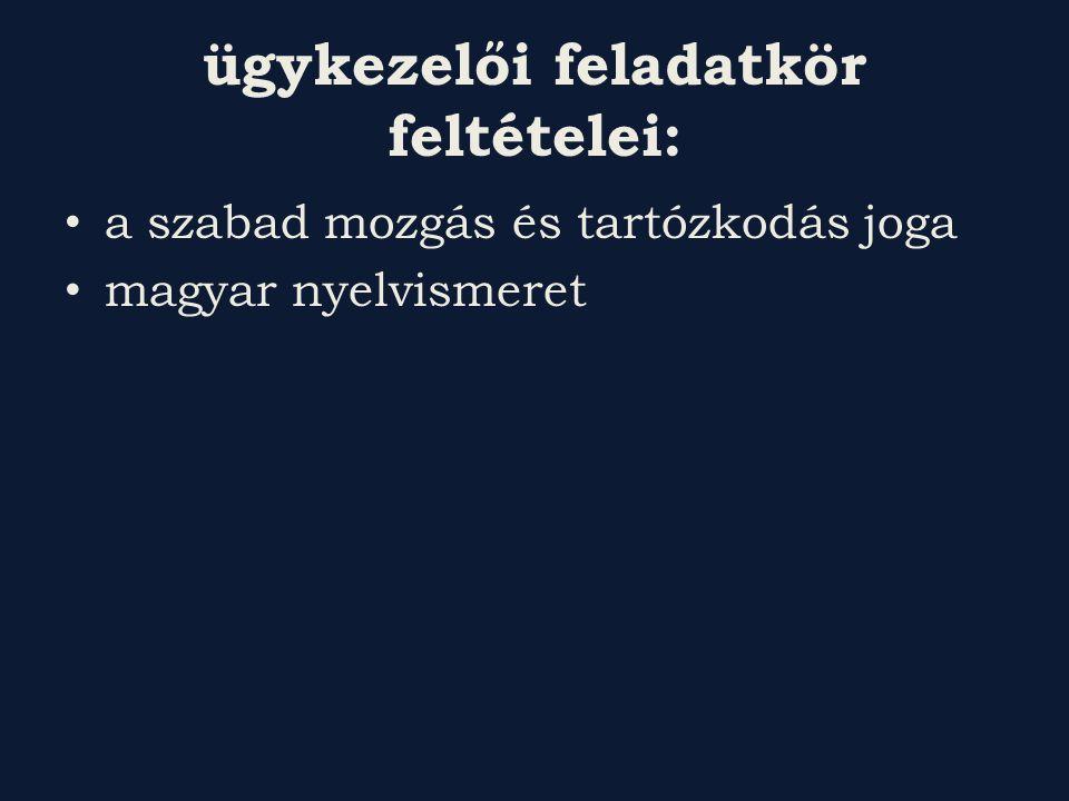 ügykezelői feladatkör feltételei: a szabad mozgás és tartózkodás joga magyar nyelvismeret