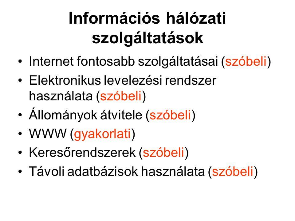 Információs hálózati szolgáltatások Internet fontosabb szolgáltatásai (szóbeli) Elektronikus levelezési rendszer használata (szóbeli) Állományok átvitele (szóbeli) WWW (gyakorlati) Keresőrendszerek (szóbeli) Távoli adatbázisok használata (szóbeli)