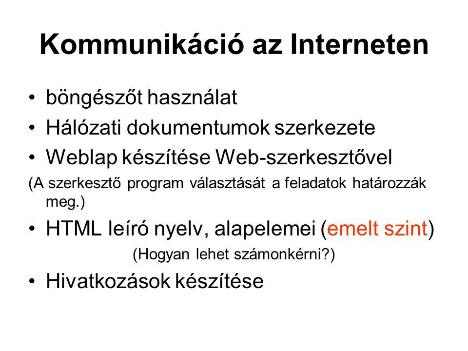 Kommunikáció az Interneten böngészőt használat Hálózati dokumentumok szerkezete Weblap készítése Web-szerkesztővel (A szerkesztő program választását a feladatok határozzák meg.) HTML leíró nyelv, alapelemei (emelt szint) (Hogyan lehet számonkérni ) Hivatkozások készítése