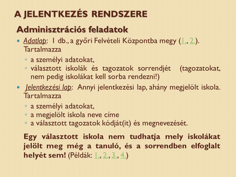 A JELENTKEZÉS RENDSZERE Adminisztrációs feladatok Adatlap: 1 db., a győri Felvételi Központba megy (1., 2.).1.2.