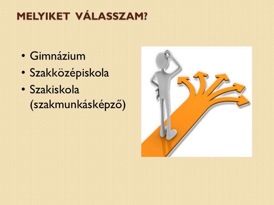 MELYIKET VÁLASSZAM Gimnázium Szakközépiskola Szakiskola (szakmunkásképző)