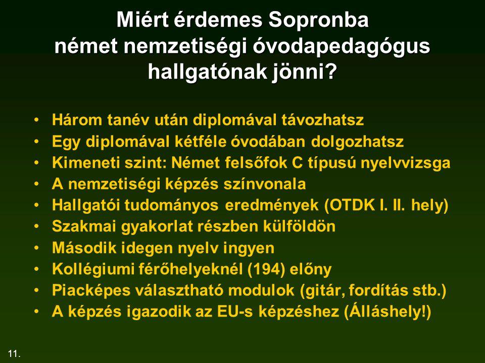11. Miért érdemes Sopronba német nemzetiségi óvodapedagógus hallgatónak jönni? Három tanév után diplomával távozhatsz Egy diplomával kétféle óvodában