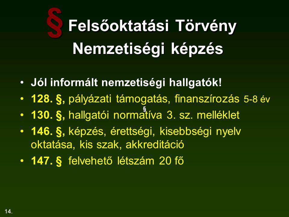 14. § Felsőoktatási Törvény Nemzetiségi képzés Jól informált nemzetiségi hallgatók! 128. §, pályázati támogatás, finanszírozás 5-8 év 130. §, hallgató